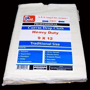 Canvas Drop Cloth / 9 X 12 / Heavy Duty / 10 Oz /Painter Professional Grade