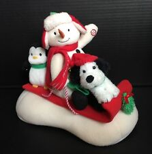 Hallmark 2007 Jingle Pals Animated Sled Sleigh Singing Snowman Dog Penguin VIDEO
