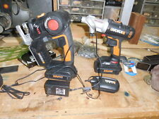 WORX Drill Driver, Reciprocating & Jig Saw, 2 batteries and charger.
