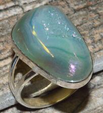 Blue Aura Druzy 925 Sterling Silver Ring Jewelry s.8.5 JJ9078
