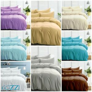Hotel collection Duvet Set 3pc 1000TC 100%Egyptian Cotton ALL Size &-solid color