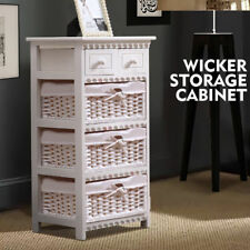 White Bedside Tables Wood 5 Drawer Wicker Storage Cabinet with Baskets Bedroom