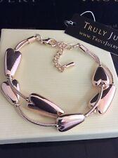 Luxurious Designer Rose Gold Double Stranded Heart Bracelet - Gift Packaged