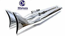 "Mutazu 36"" Chrome Fish tail Exhaust Slip On Mufflers 95-16 Harley Touring Bagger"