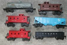 Lot of 6 Vintage Lionel Toy Train Rail Freight Cars 1005, 6017, 9011, 1007, 1002
