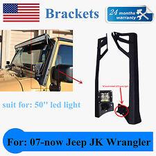 "Jeep Wrangler JK Steel Windshield up+low Mounting Brackets for 50"" LED Light Bar"