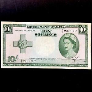 MALTA 10 SHILLINGS BANKNOTE. 1954. GEORGE CROSS ISSUE, SERIES A5. RARE.