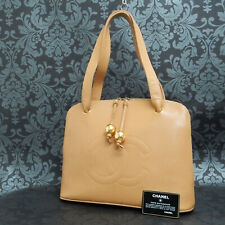 Rise-on Vintage CHANEL CAVIAR SKIN Leather Beige Shoulder Bag Tone Bag #2215