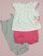 NWT Carter's 18 Month Baby Girl's Cotton 3-Piece Unicorn Ruffle Bloomers Set