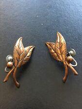 Antique Copper Leaf Clip Earrings, Unsigned, Screw backs