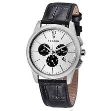 Azzaro Men's Legend Silver Dial Leather Strap Chronograph Watch AZ2040.13SB.000