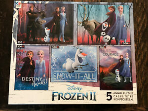 NEW Disney Frozen II 2 Multipack CEACO 5 Jigsaw Puzzles 750 500 300 pc Anna Olaf