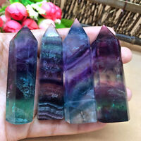 Natural Hexagonal Crystal Quartz Healing Fluorite Wand Stone Purple Green Gems