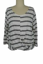 The Vanity Room Brushed Stripe 3/4 Sleeve Twist Front Top sz L NWT $30 Made USA