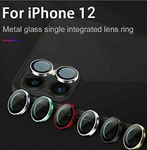 For iPhone 12 Pro Max 12 Metal Ring Tempered Glass Camera Lens Screen Protector
