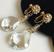 Vintage Miriam Haskell Chandelier Earrings~Crystals/Gold Tone Filigree