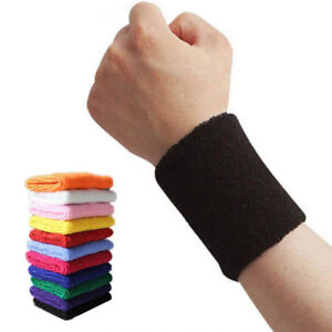2 x Sports Wrist Sweat Bands Wristbands Unisex 80s Fitness Sweatbands Gym Tennis