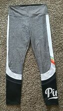 Sz L Victoria's Secret Pink Ultimate Leggings Gray White Black