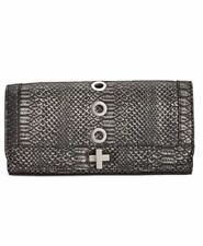 INC International Concepts $60 NWT Korra Clutch Bag Purse Silver Gray Snake Skin