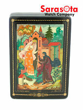 "Russian ""Snow White"" Lacquer Hand Painted Wooden Jewelry Box Artist Signed"