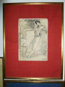 rare 1950's Art 3 Picasso prints male ballet dancers framed vintage canvas