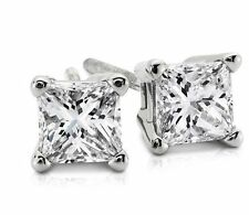 3.50CT Brilliant Princess Cut 18K White Gold ScrewBack Stud Earrings