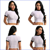 US Womens See Through Sheer Mesh Short Sleeve Crop Tops T-Shirt Blouse Tees Vest