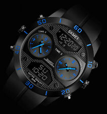 XXL SKM Analog Digital Herren Armband Uhr Schwarz Blau Chronograph Dualtimer