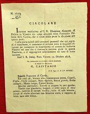 G79-POLIZIA DI VENEZIA,RICHIESTA DI ARRESTO PER POLONIA FRANCESCO DI CARNIA,1818