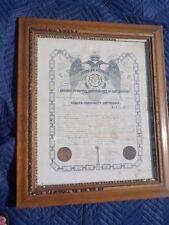 1893 OCCULT SCOTTISH RITE FREEMASONRY Supreme Council Certificate  RARE Signed
