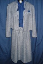 VTG Navy Blue Dress Bolero Jacket Set 2 pc Suit size 14 Coat R5 Short Sleeve!!!