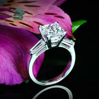 1.88 CT PRINCESS CUT DIAMOND THREE STONE ENGAGEMENT RING 14K WHITE GOLD