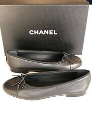 2018 CHANEL BLACK GRAINED LEATHER CAVIAR BALLET BALLERINA FLAT FLATS SHOES 37