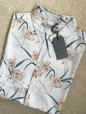 "ALL SAINTS ECRU WHITE ""AARU"" FLORAL SHORT SLEEVE SHIRT TOP - XS S M L - NEW TAGS"