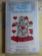 KIT COMPLET POINT DE CROIX COMPTE ANCHOR OURS ME TO YOU SHOWER OF HEARTS 11X9 CM