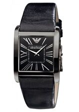 New Emporio Armani Black Steel Leather Women Dress Slim Watch 30x38mm AR2027