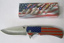 Usa Silver American Flag 8 Inch Pocket Knife hunting folding stainless steel