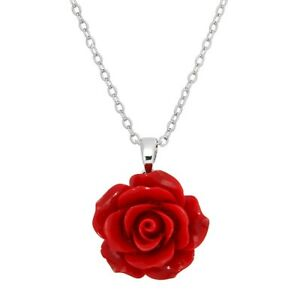 """Rose Flower Charm Pendant Necklace - Acrylic - 17"""" Link Style Chain - 3 Colors"""