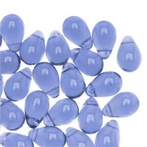Czech Glass Beads 9mm Teardrops Light Sapphire (50 Pieces)