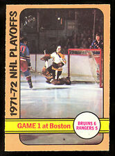 1972 73 OPC O PEE CHEE #7 GAME 1 GARY CHEEVERS NM BOSTON BRUINS VS N Y RANGERS