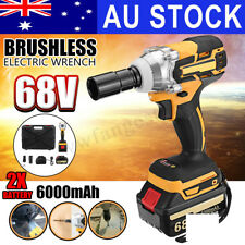 AUS 68V Cordless Electric Impact Wrench Brushless Rattle Gun Car Torque 6000mAh