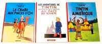Lot of 3 FRENCH Les Aventures De TINTIN En Amerique, Au Soviet, Crabe Pince D'Or