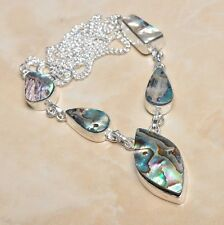 "Handmade Mother of Pearl Abalone Shell 925 Sterling Silver Necklace 18"" #N00071"