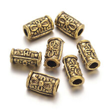 100pcs Barrel Metal Bead Spacers Tibetan Style Golden Color Lead Free 10.8x6~7mm