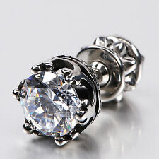 silver stud stainless steel crystal SINGLE vintage style crown earring