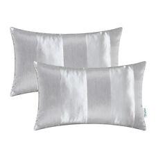 "2Pcs Bolster Pillow Covers Shells Jacquard Striped Sofa Decor Silver Gray 30x50"""