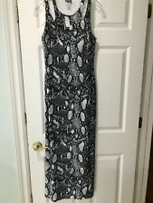 NWT DOTS SEXY LONG DRESS SNAKE SKIN STRETCH SPLITS BLACK WHITE SIZE M MEDIUM NEW