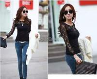 New Ladies Womens Sexy Floral Lace Slim Tops Casual Blouse Long Sleeve T Shirt