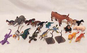 Lot of 21 Small Plastic Dinosaurs & Animals Toy Figures Safari Ltd. Schleich
