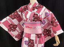浴衣 Yukata japonais - Rectangles et fleurs - Import direct Japon 1429